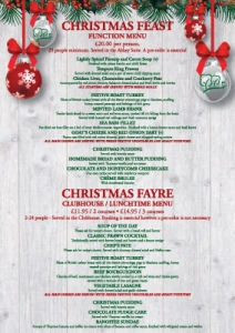 Christmas Menu.Christmas Menus Rufford Park Golf And Country Club